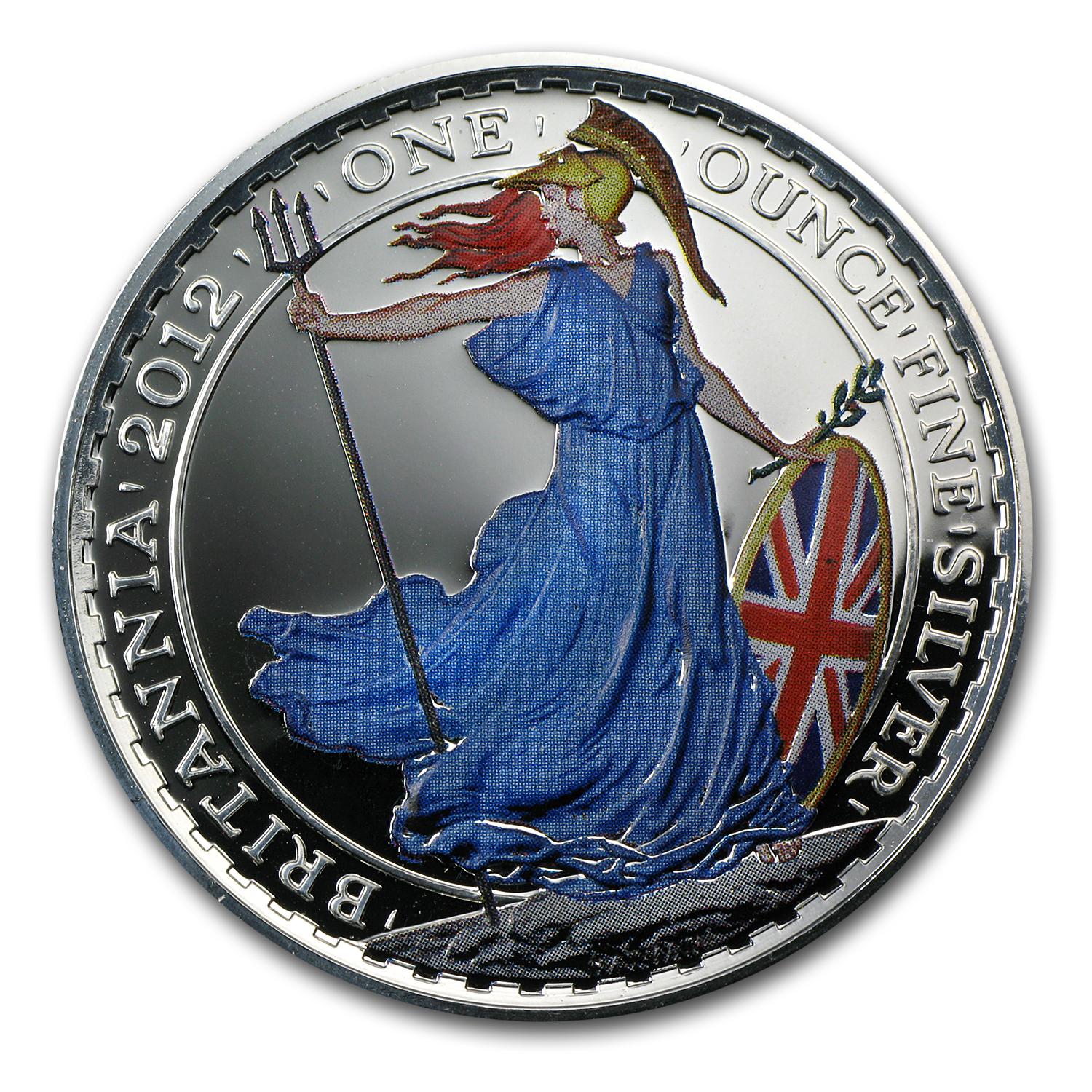 2012 Great Britain 1 oz Silver Britannia BU (Colorized)