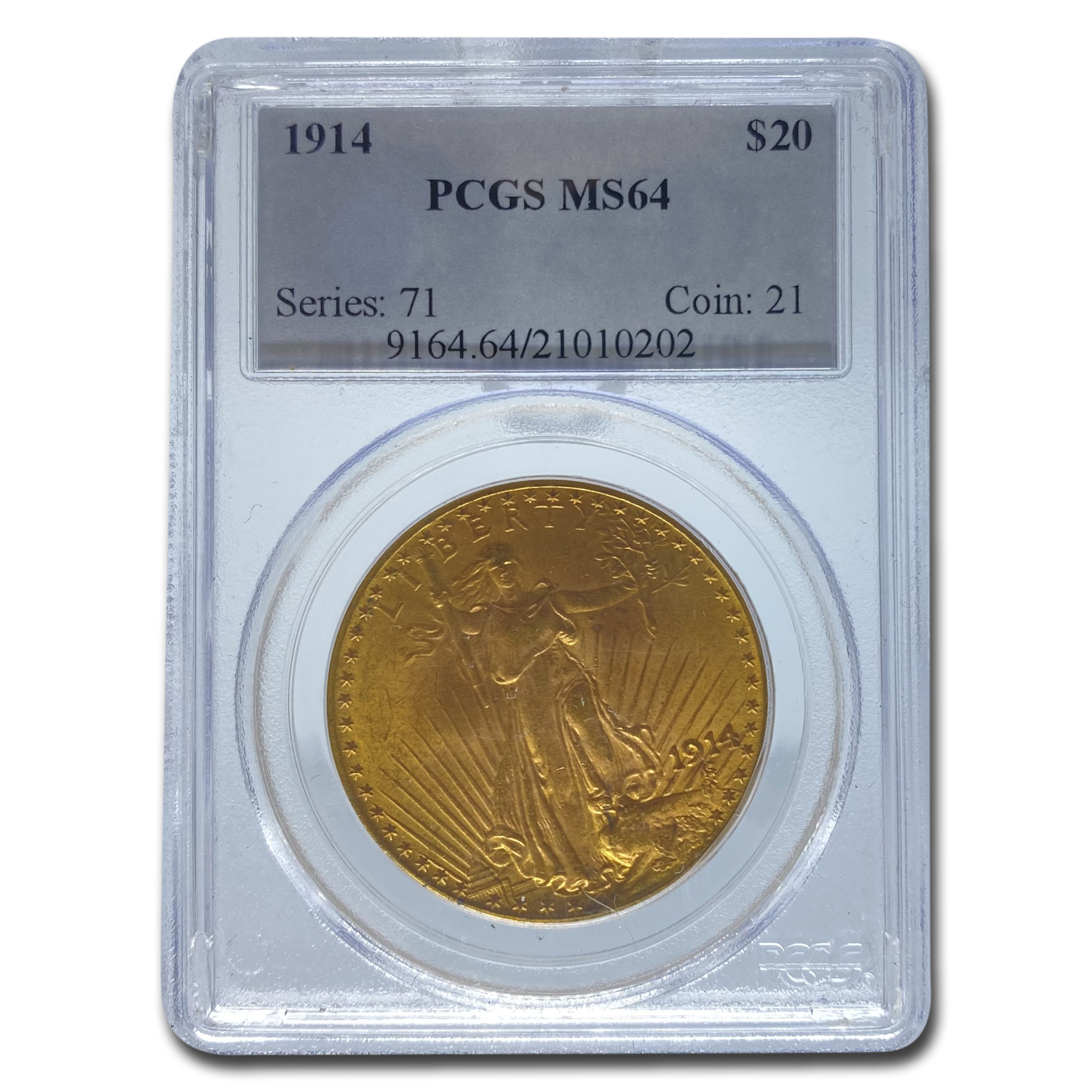 1914 $20 St. Gaudens Gold Double Eagle MS-64 PCGS