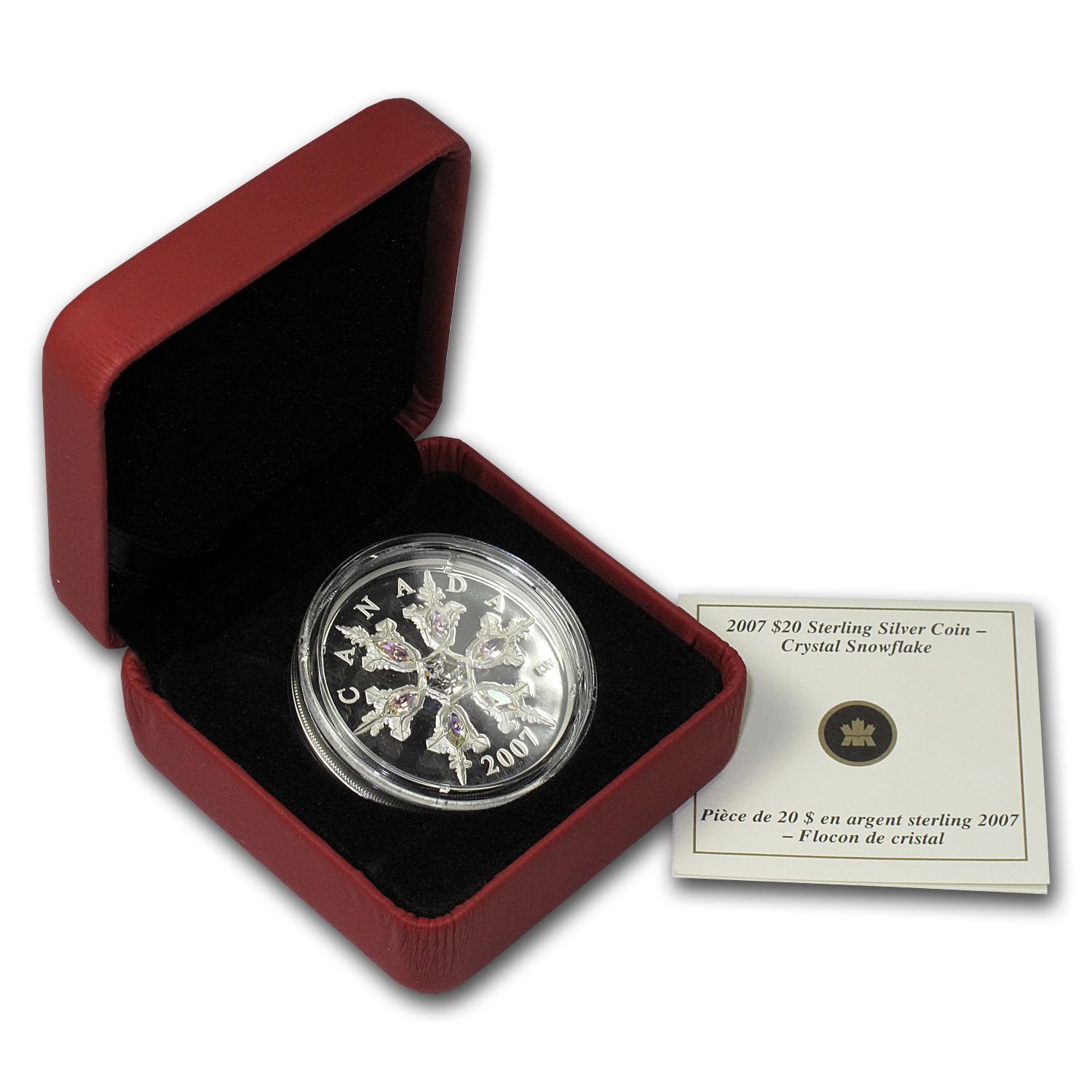 2007 Can 1 oz Silver $20 Crystal Snowflake (Iridescent, w/Box)