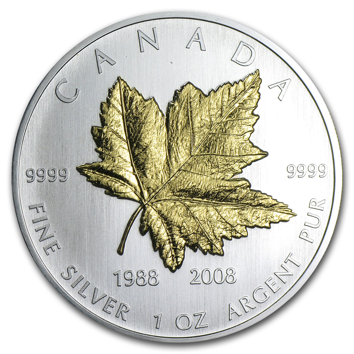 2008 Canada 1 oz Silver $5 Maple Leaf 20th Anniversary (Gilded)