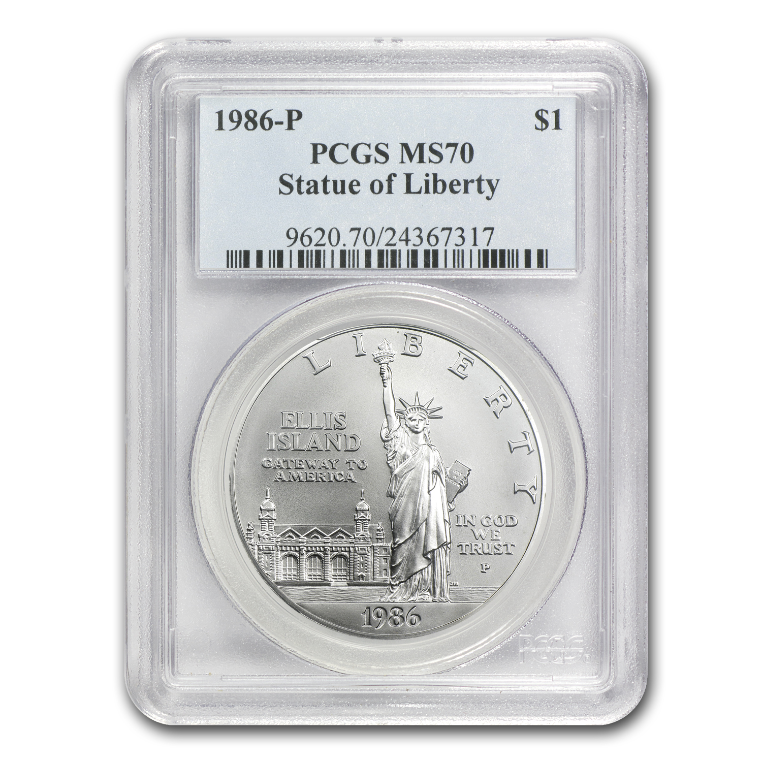 1986-P Statue of Liberty $1 Silver Commemorative MS-70 PCGS