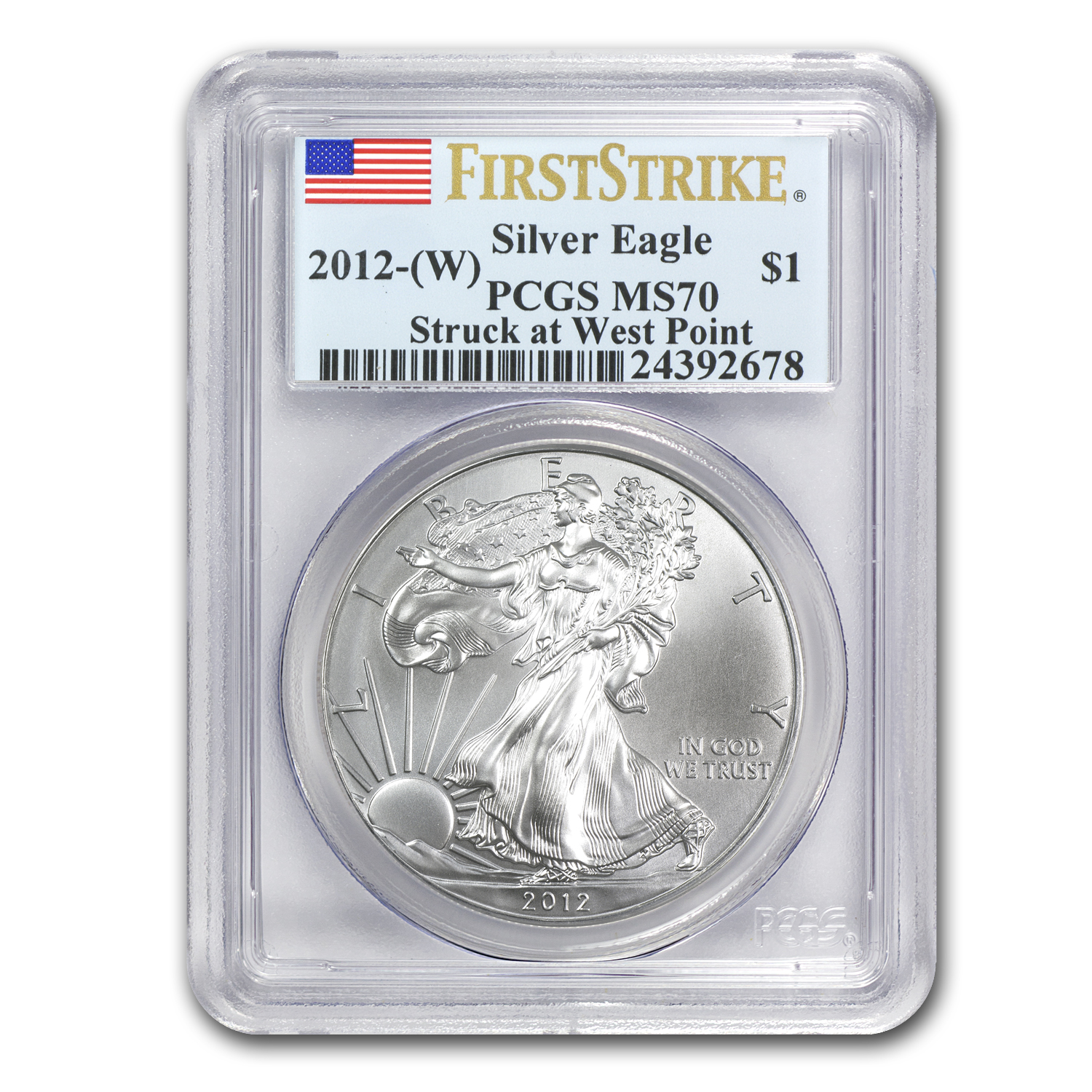 2012 (W) Silver American Eagle MS-70 PCGS (First Strike)