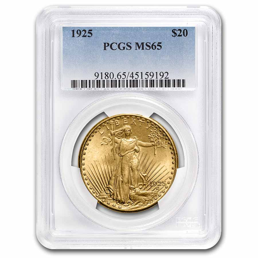 1925 $20 St. Gaudens Gold Double Eagle MS-65 PCGS