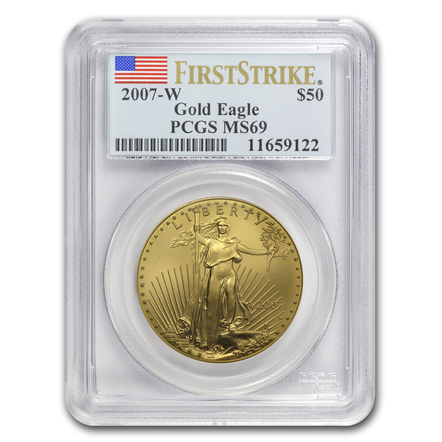 2007-W 1 oz Burnished Gold Eagle MS-69 PCGS (FS)