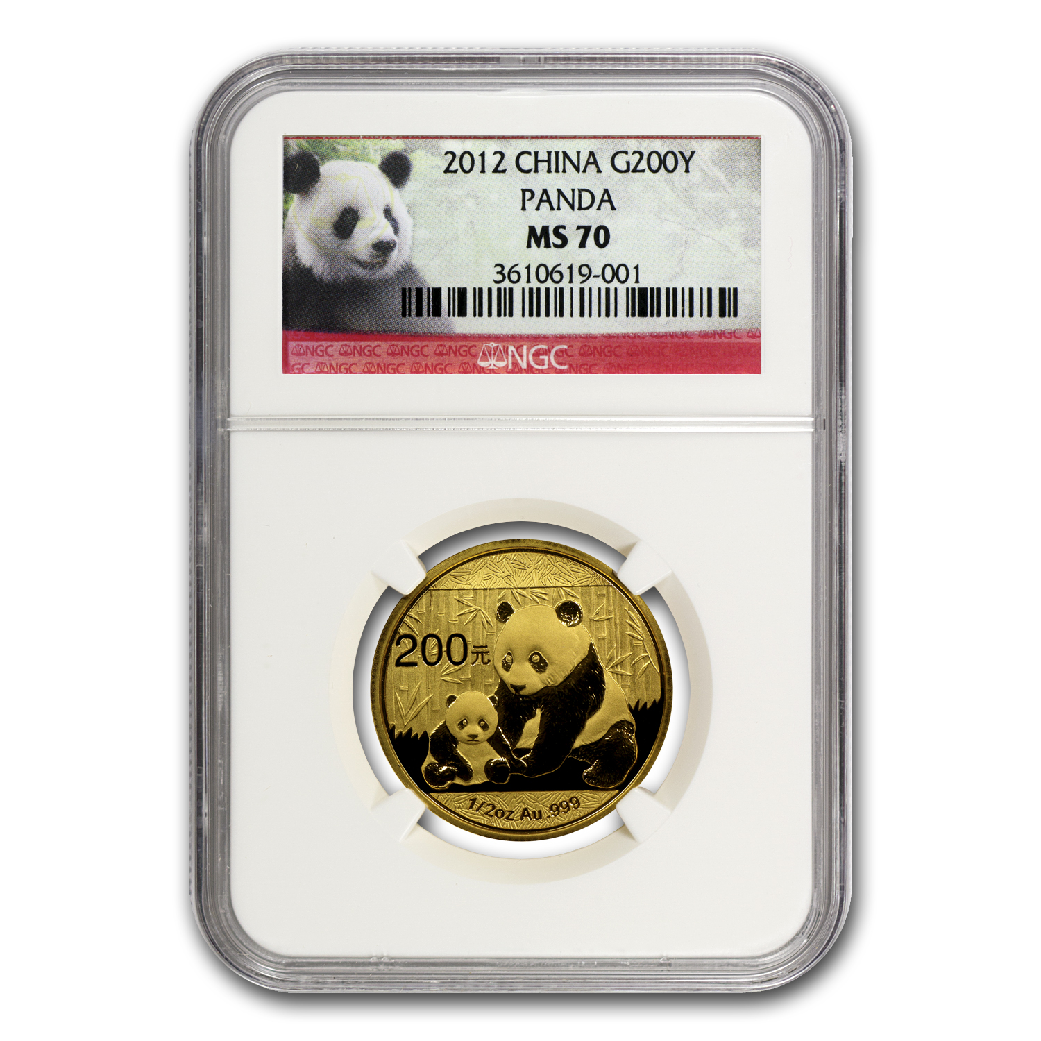 2012 China 1/2 oz Gold Panda MS-70 NGC