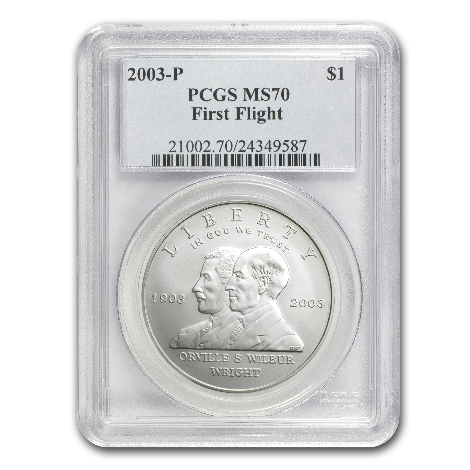 2003-P First Flight Centennial $1 Silver Commem MS-70 PCGS