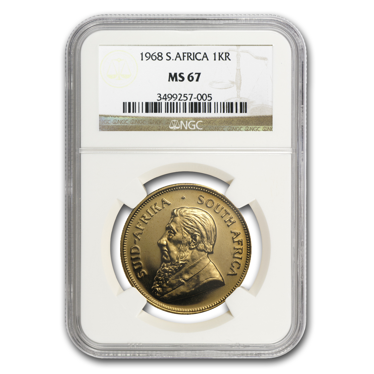 1968 1 oz Gold South African Krugerrand MS-67 NGC (Registry Coin)
