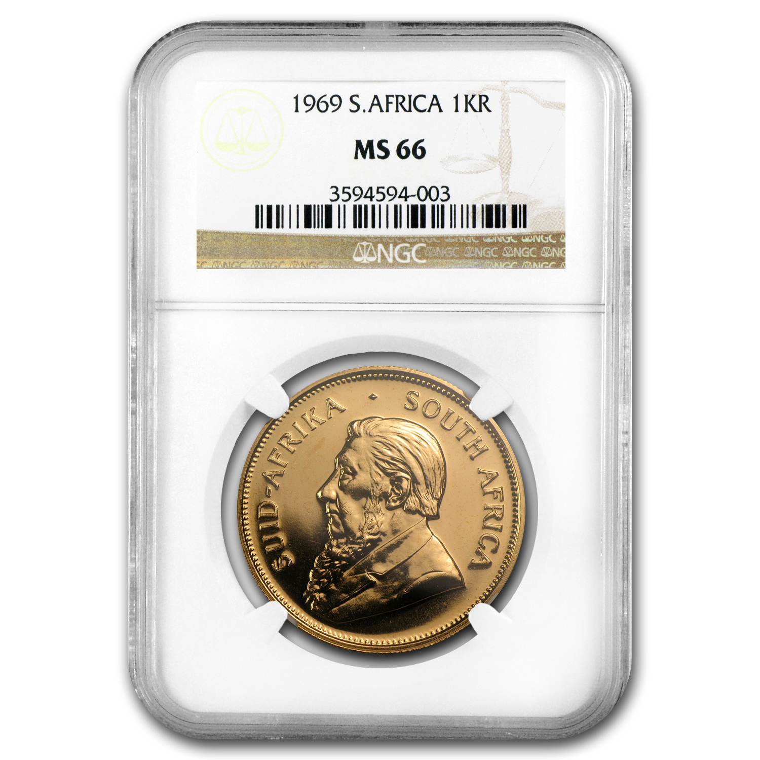 1969 1 oz Gold South African Krugerrand MS-66 NGC