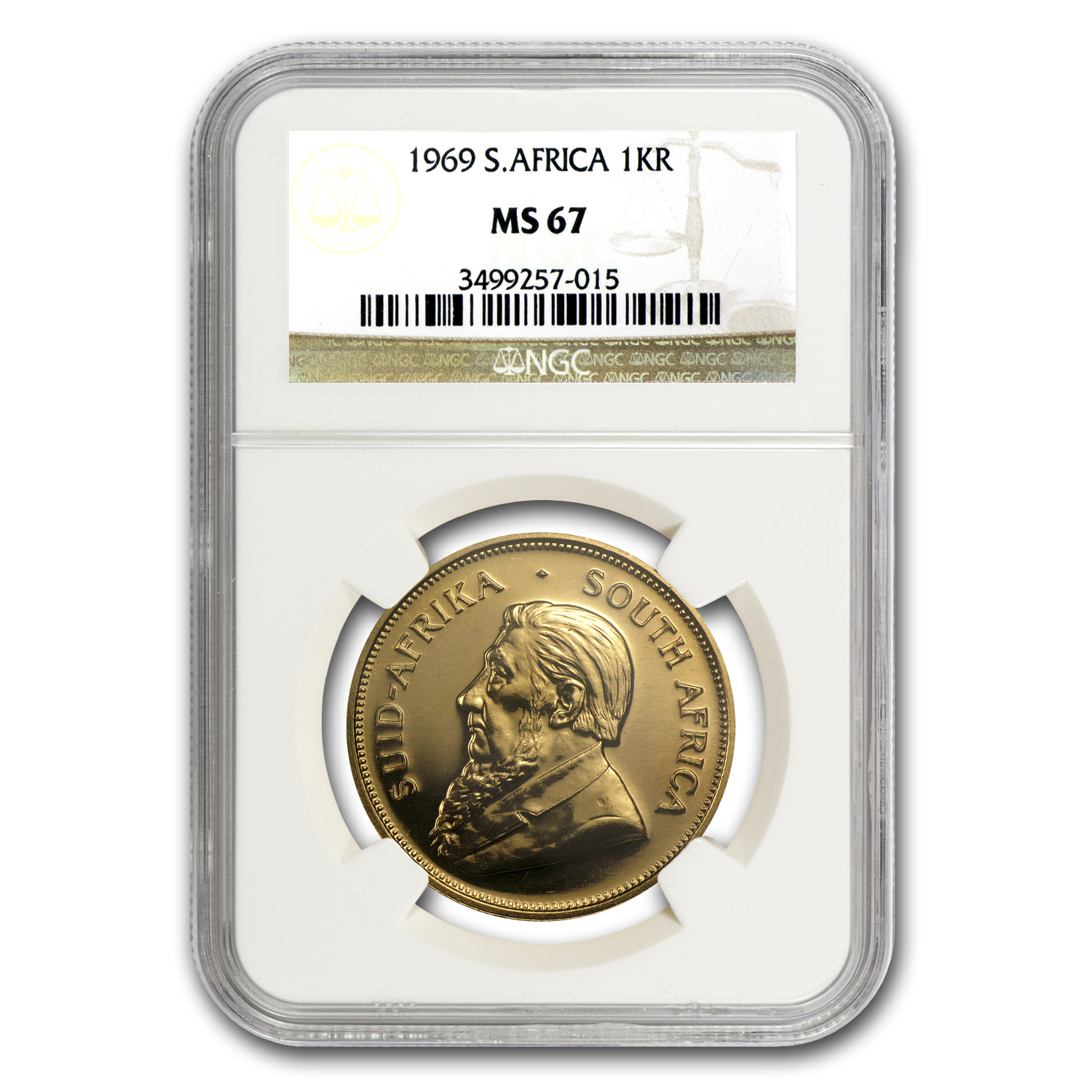 1969 1 oz Gold South African Krugerrand MS-67 NGC
