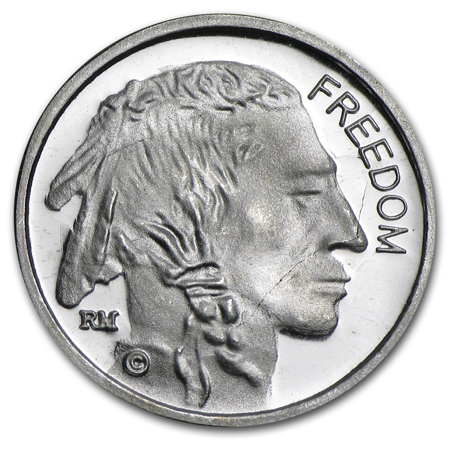1 Gram Silver Round Freedom Indian Head Buffalo Nickel