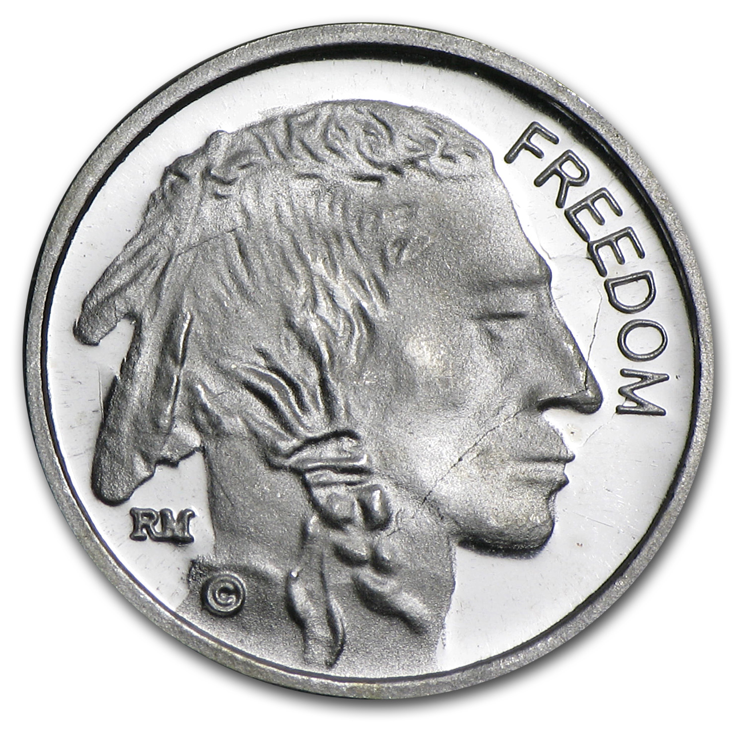 1 gram Silver Round - Freedom Indian Head/Buffalo Nickel