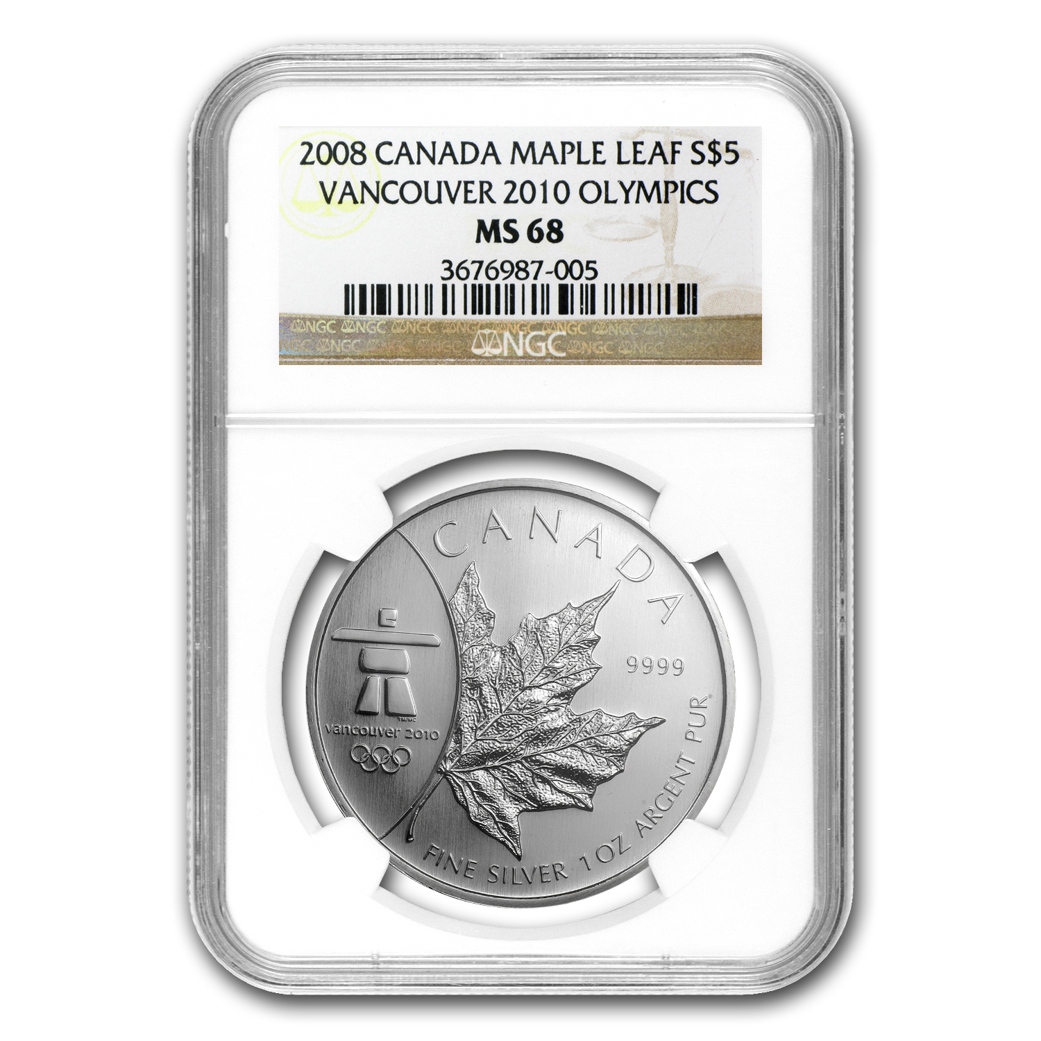2008 1 oz Silver Canadian Maple Leaf MS-68 NGC (Vancouver)
