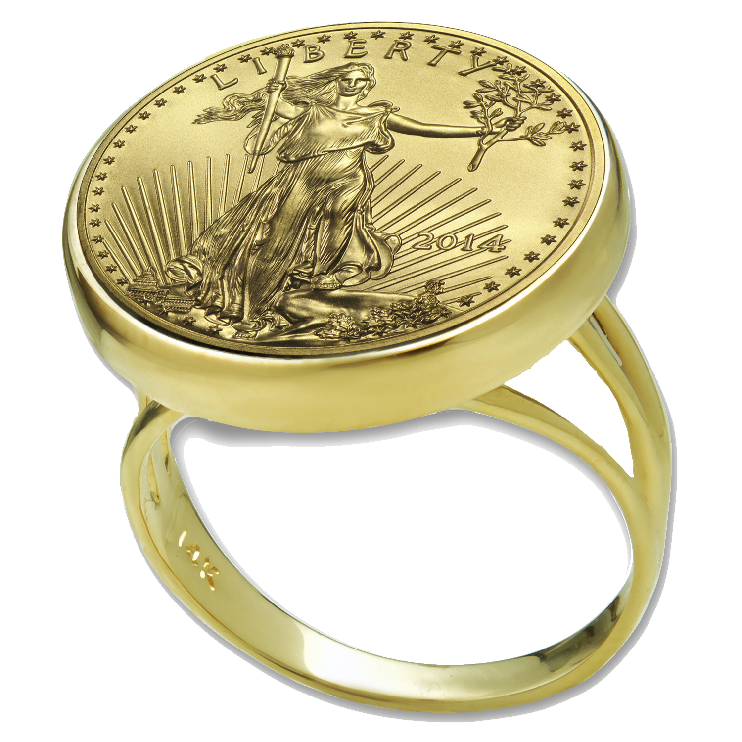 2014 1/10 oz Gold Eagle Ring (Polished-Prong)