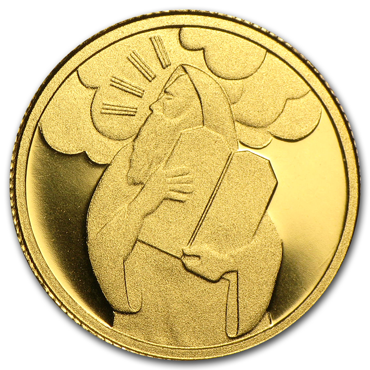 2007 Israel Moses Biblical Art Smallest Gold Coin