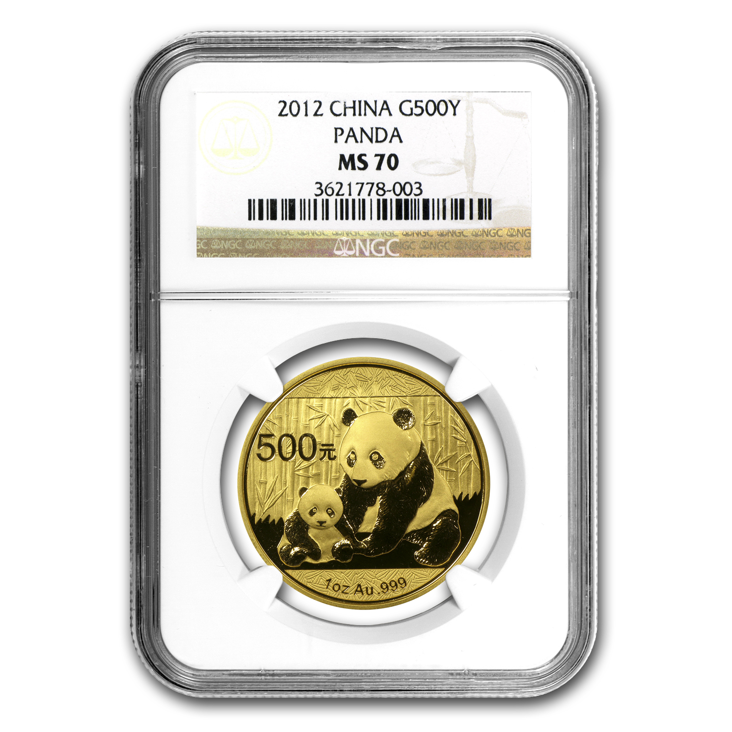 2012 1 oz Gold Chinese Panda MS-70 NGC
