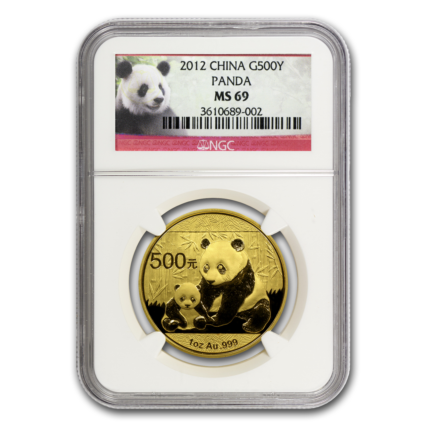 2012 China 1 oz Gold Panda MS-69 NGC