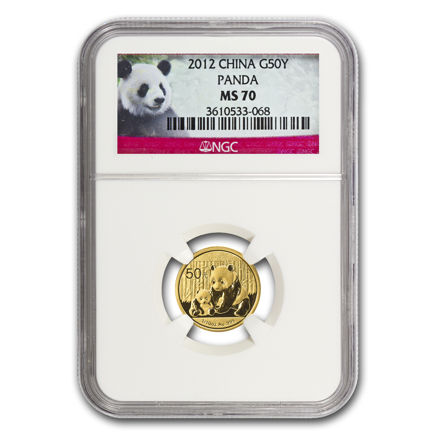 2012 China 1/10 oz Gold Panda MS-70 NGC