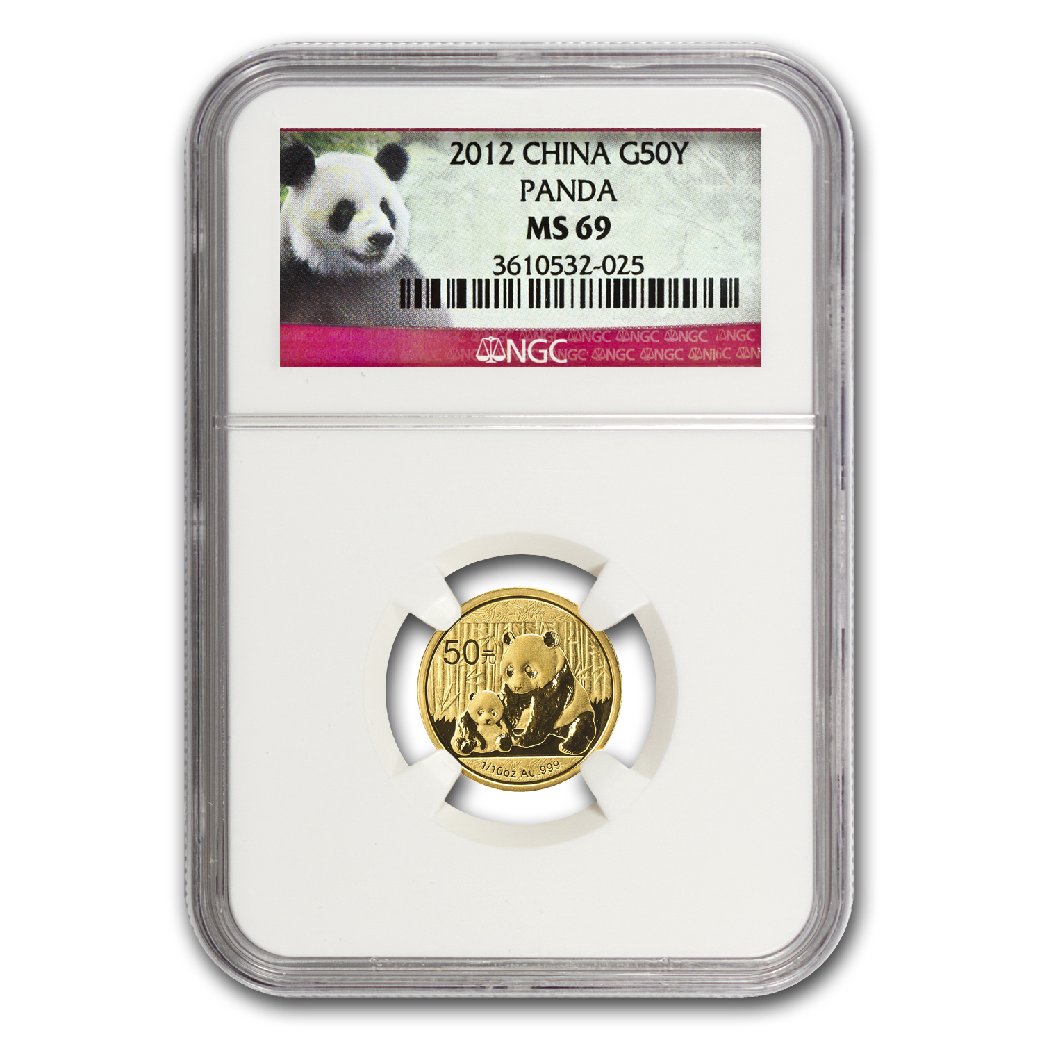 2012 China 1/10 oz Gold Panda MS-69 NGC