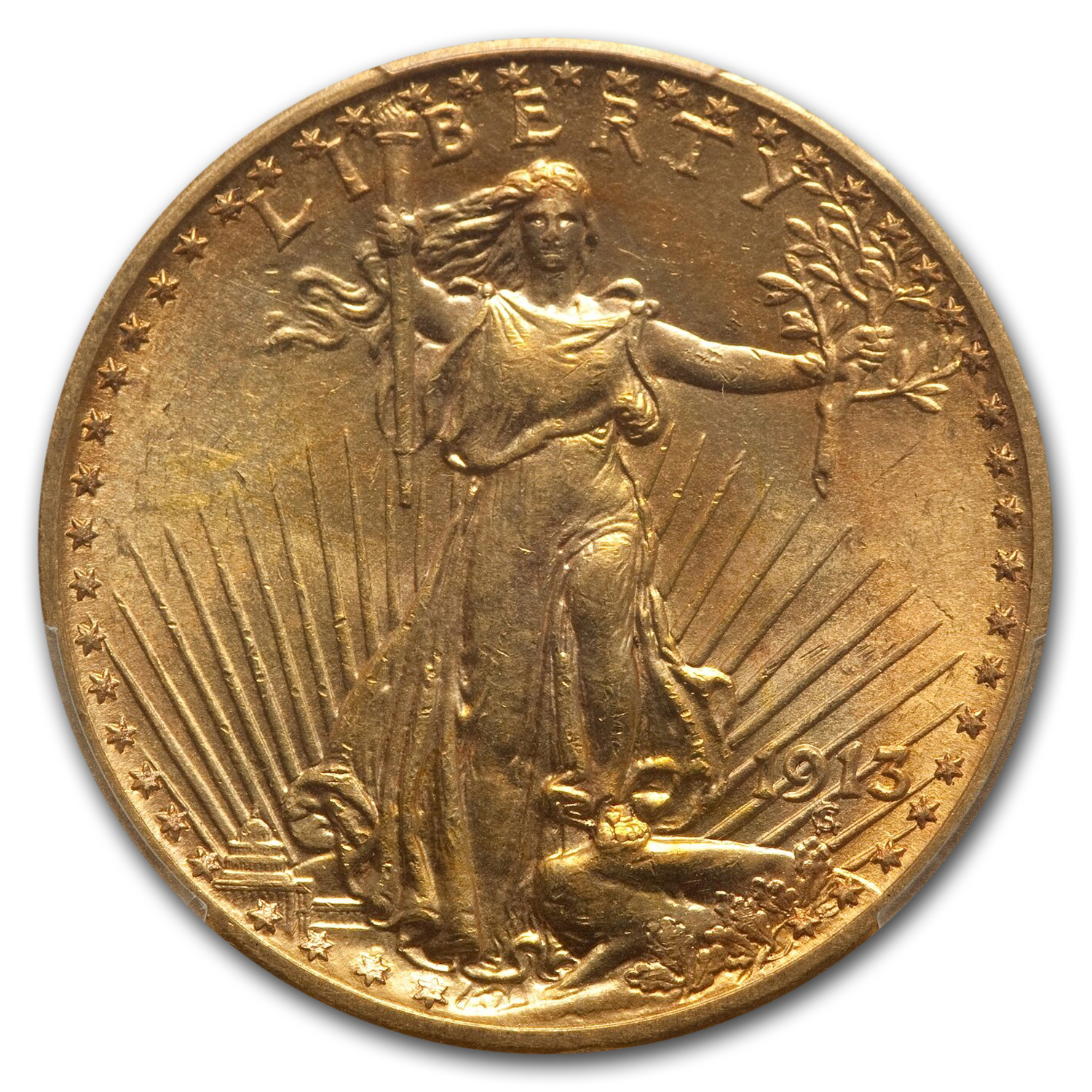 1913 $20 St. Gaudens Gold Double Eagle MS-64 PCGS