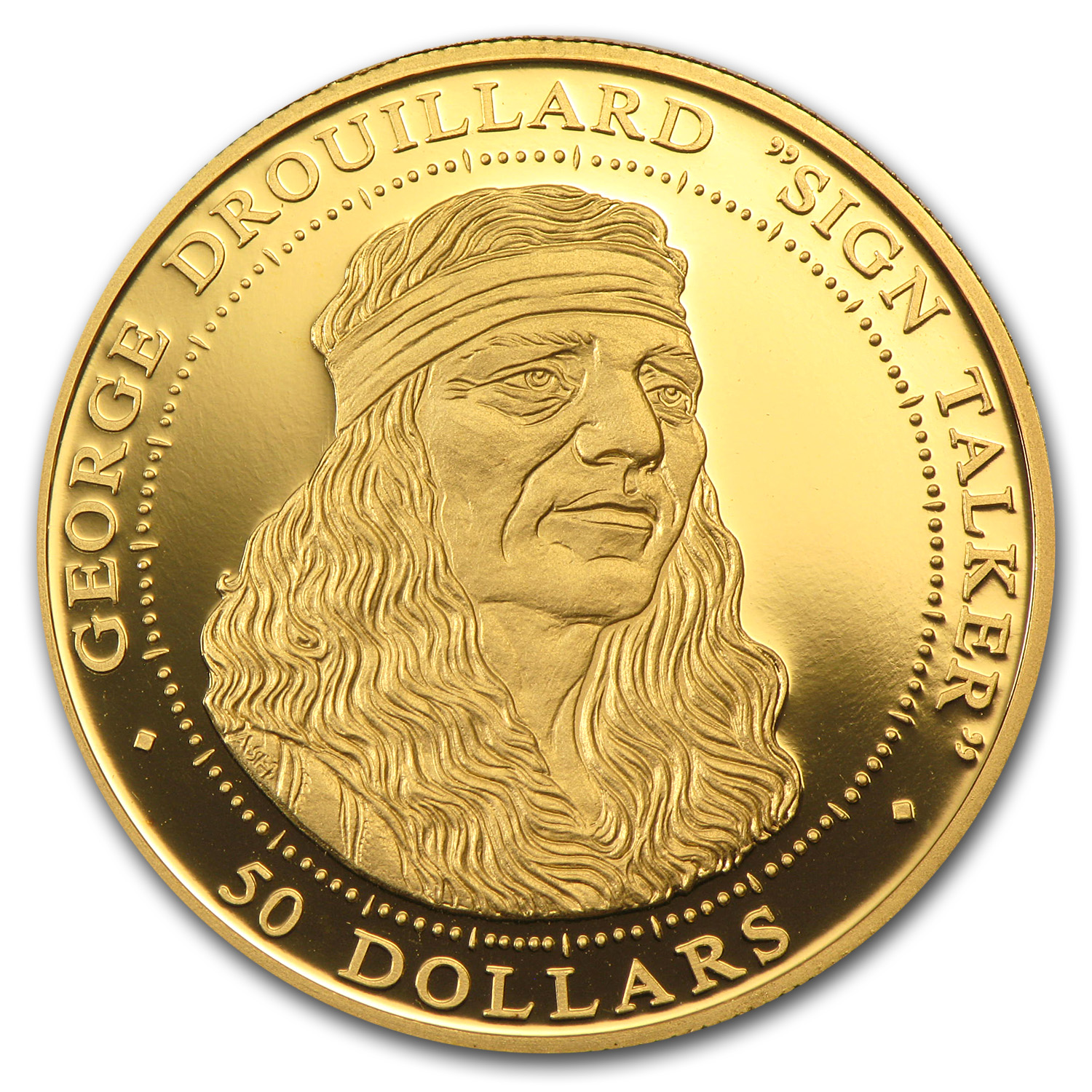 1/2 oz Gold Rounds - $50 Shawnee Indian Drouillard