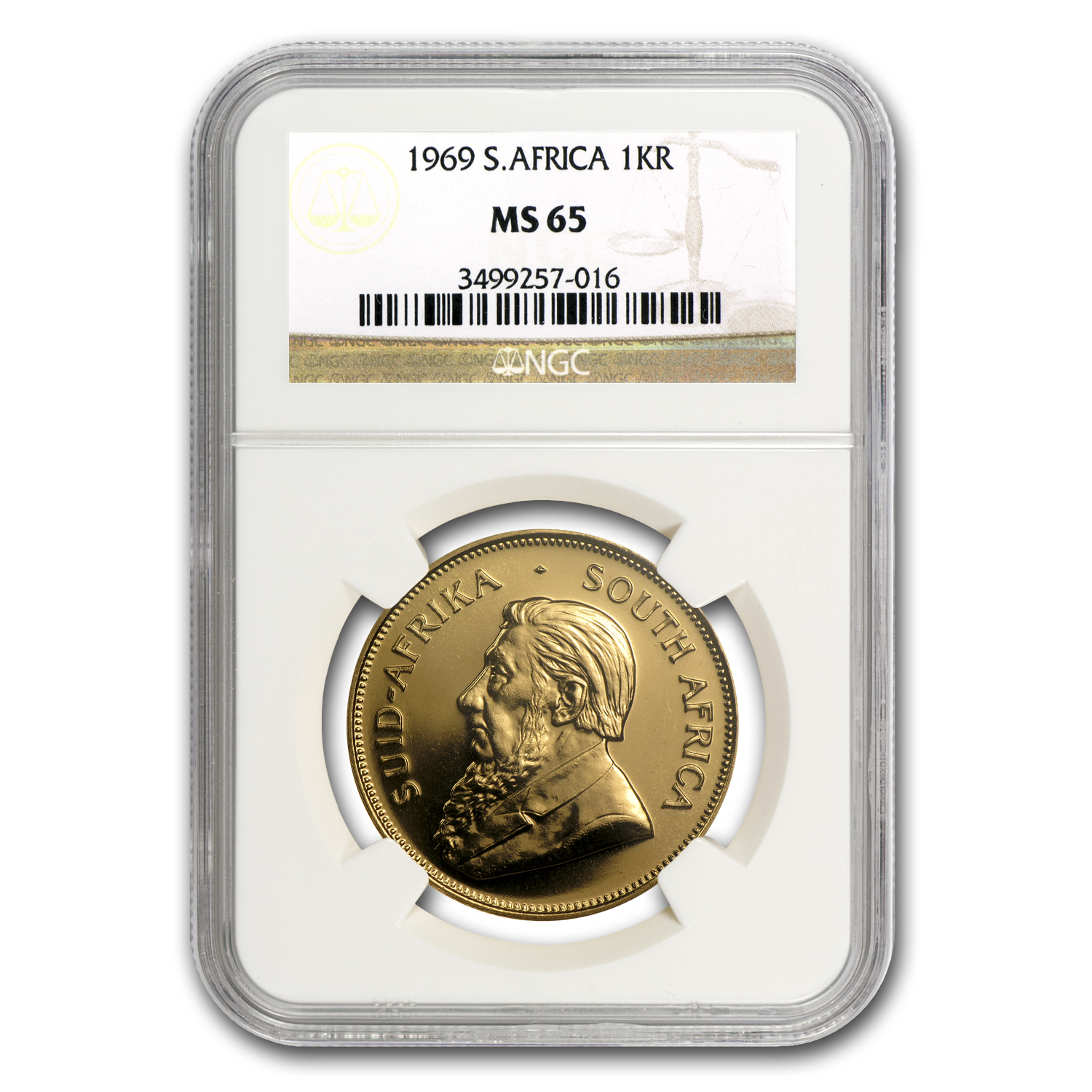 1969 South Africa 1 oz Gold Krugerrand MS-65 NGC