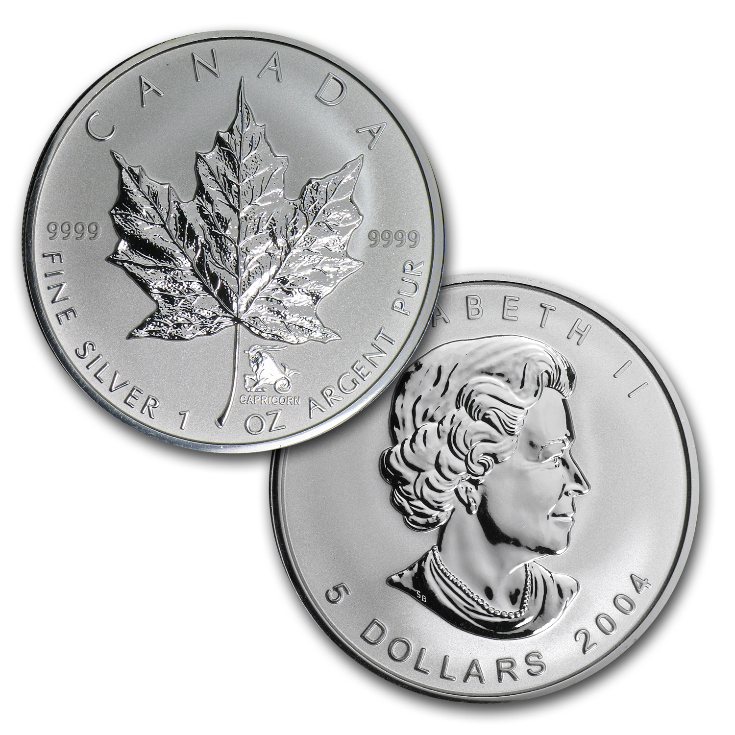 2004 Silver Maple Leaf 12-Coin Western Zodiac Privy