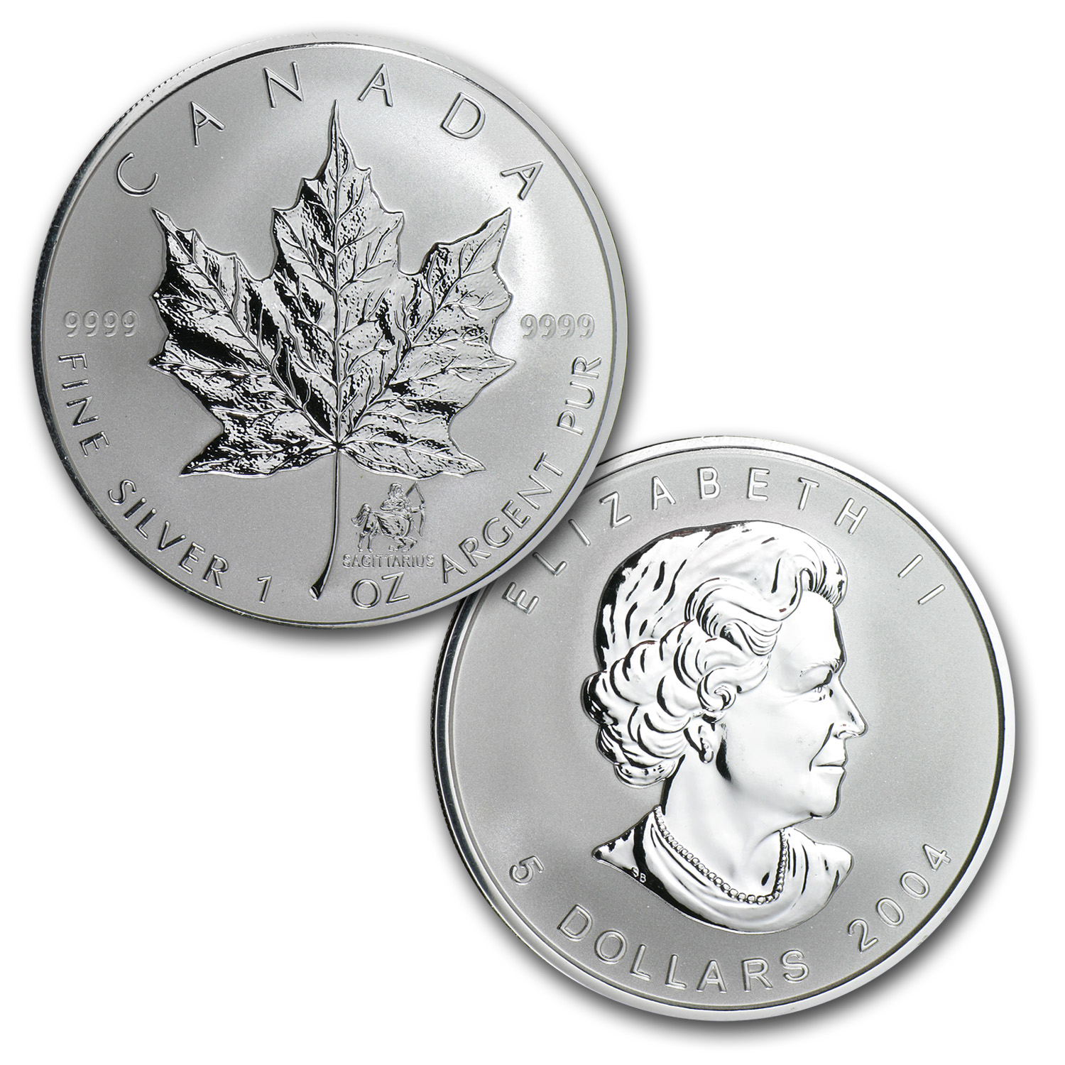 2004 12-Coin Silver Maple Leaf Western Zodiac Privy Set
