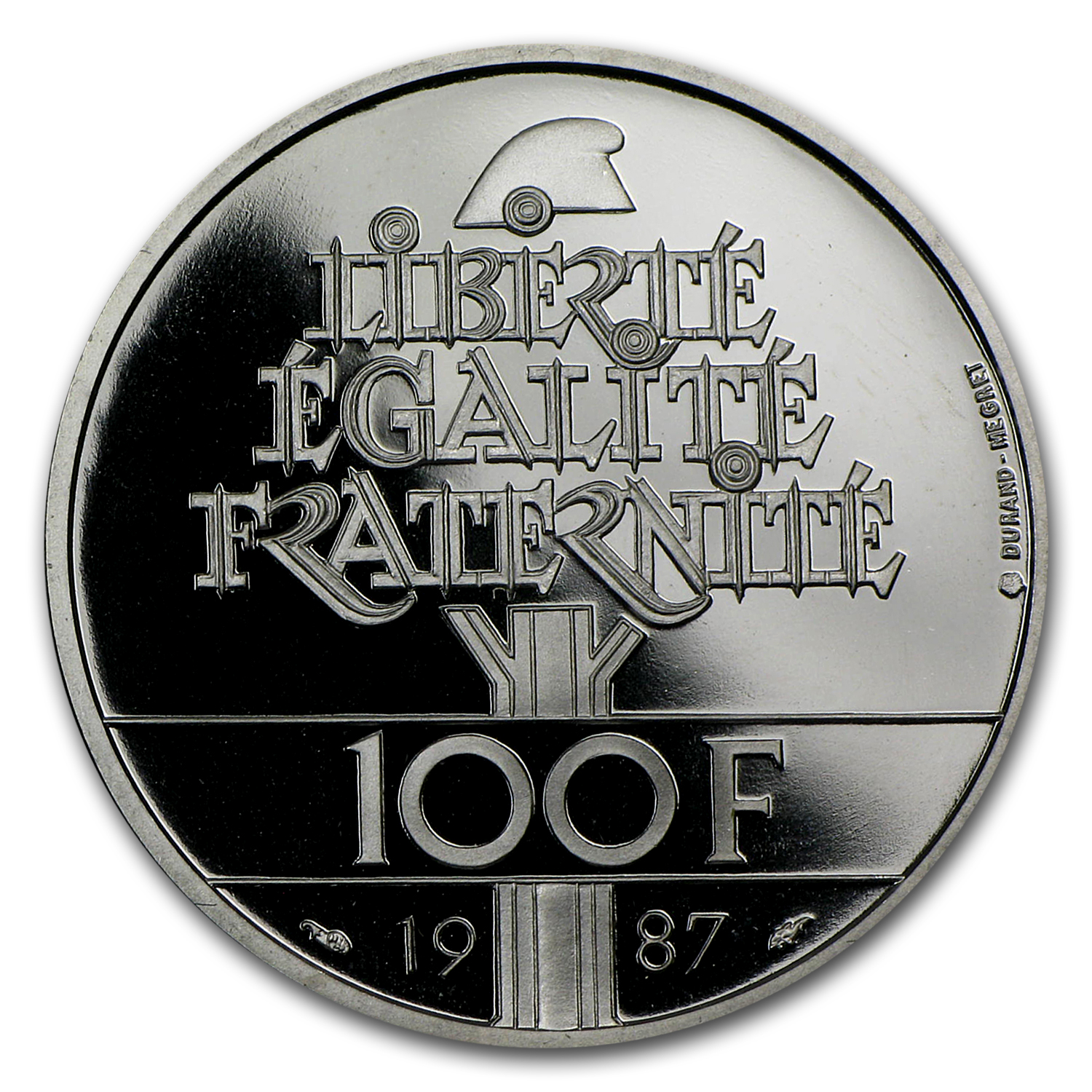 1987 100 Francs Proof Palladium General Lafayette