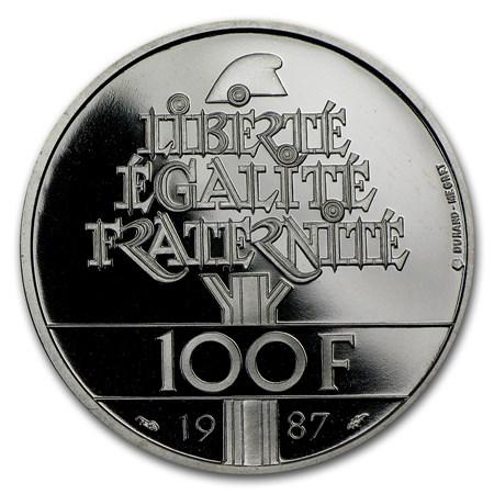 1987 Palladium 100 Francs General Lafayette Proof