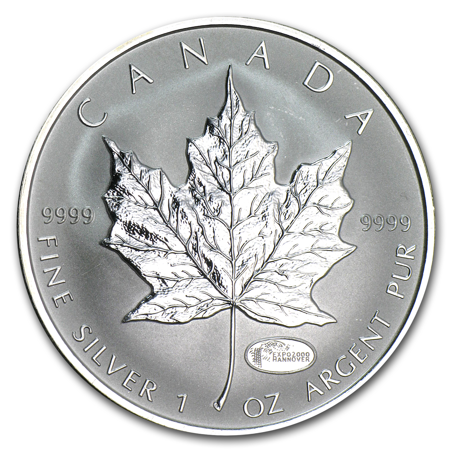 2000 1 oz Silver Canadian Maple Leaf - Expo 2000 Hannover Privy