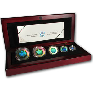 2003 Canada 5-Coin Silver Maple Leaf Set (Hologram, No Sleeve)