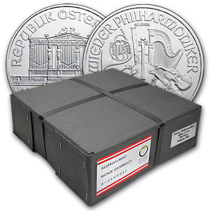 2012 1 oz Silver Austrian Philharmonic 500-Coin Box (Sealed)