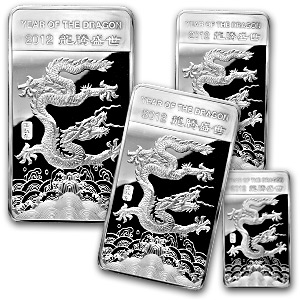 (4) Silver Bar - APMEX 2012 Year of the Dragon (4 pc Set)