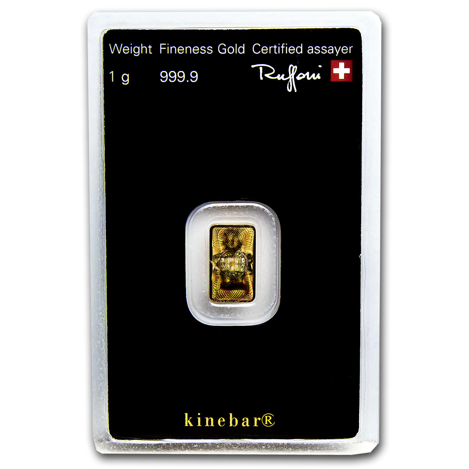 1 gram Gold Bar - Argor-Heraeus KineBar Design (In Assay)