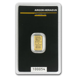 1 gram Gold Bar - Argor-Heraeus (KineBar Design, in Assay)