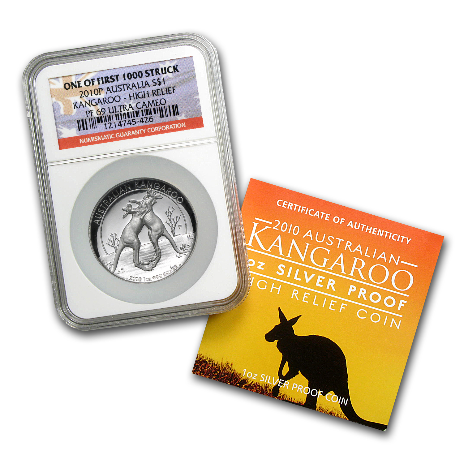 2010 1 oz Silver Kangaroo PF-69 NGC (HR, 1 of First 1,000)