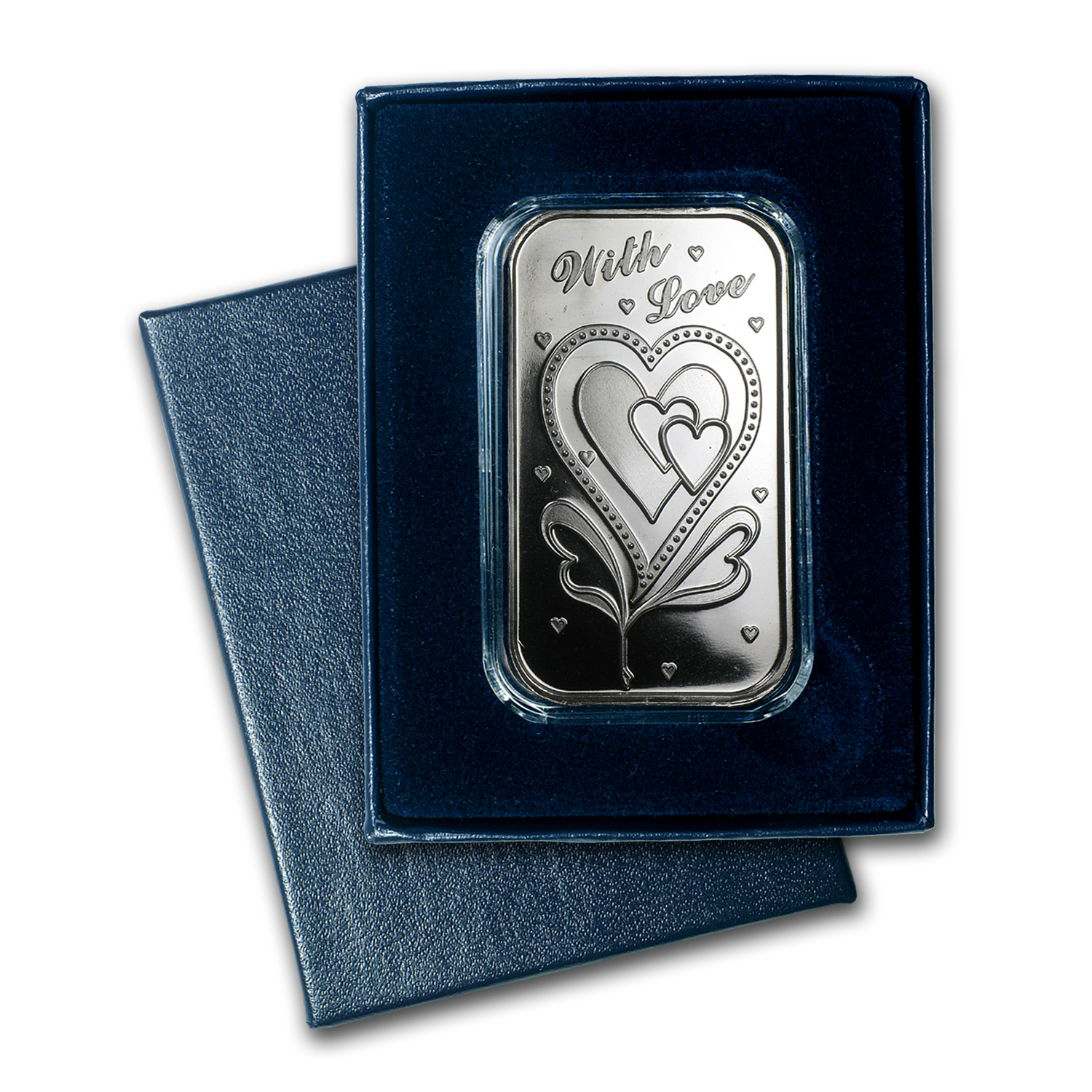 1 oz Silver Bar - With Love (w/Box & Capsule)