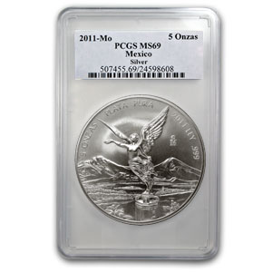 2011 5 oz Silver Mexican Libertad MS-69 PCGS