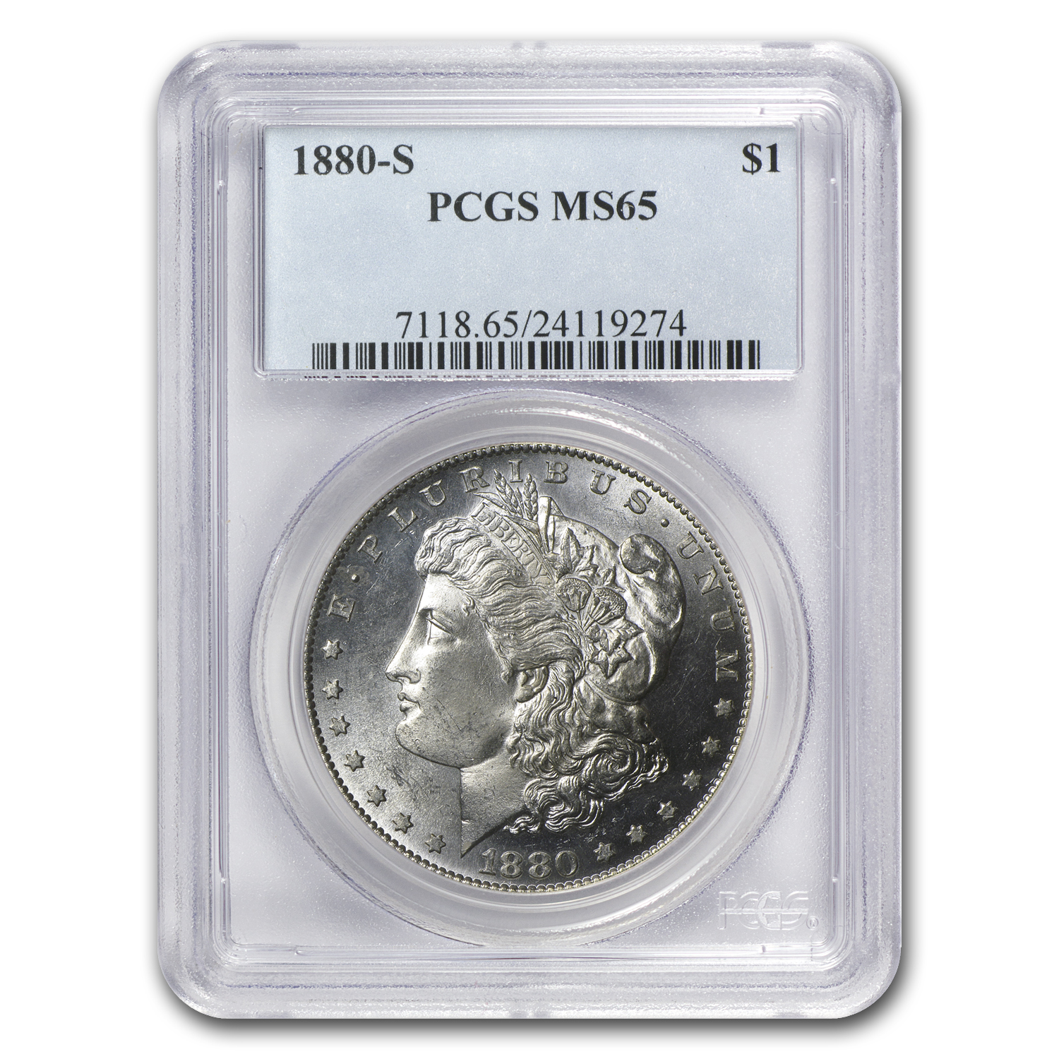 1878-1921 5-Coin Morgan Dollar Mintmark Set MS-65 PCGS