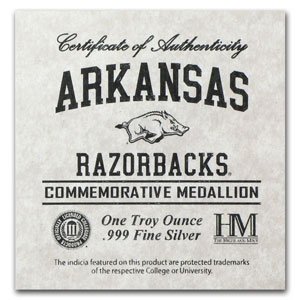 1 oz Silver Round - University of Arkansas