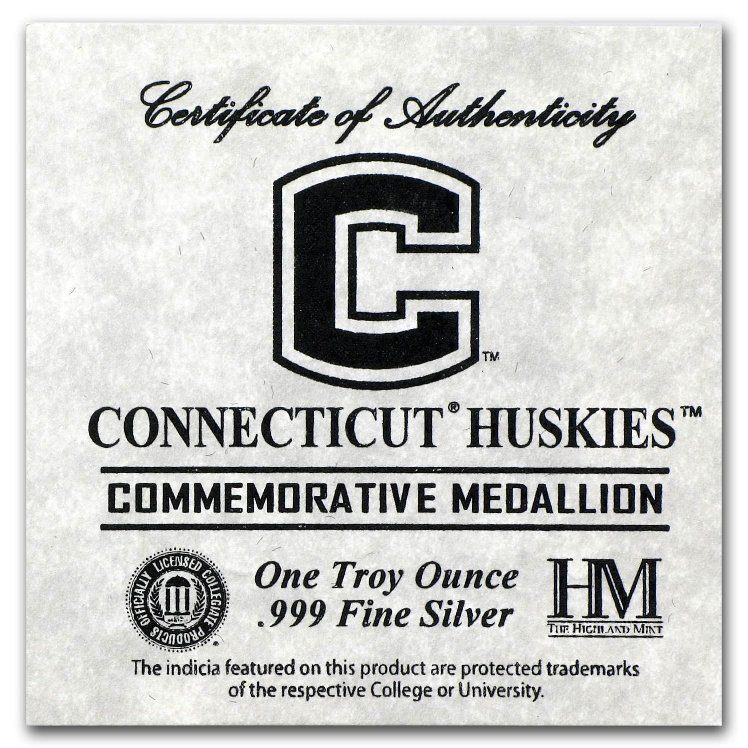 1 oz Silver Round - University of Connecticut