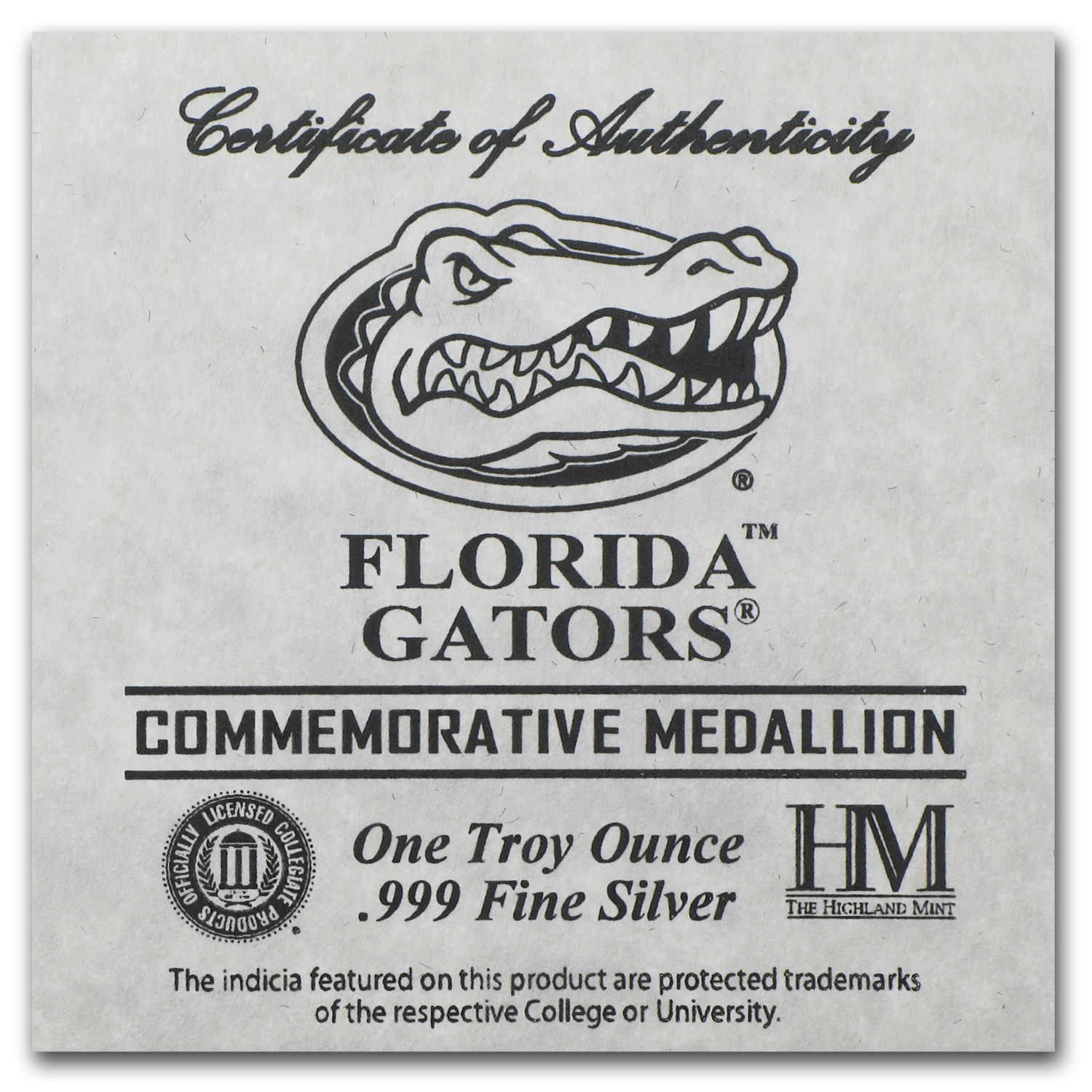 1 oz University of Florida Silver Round