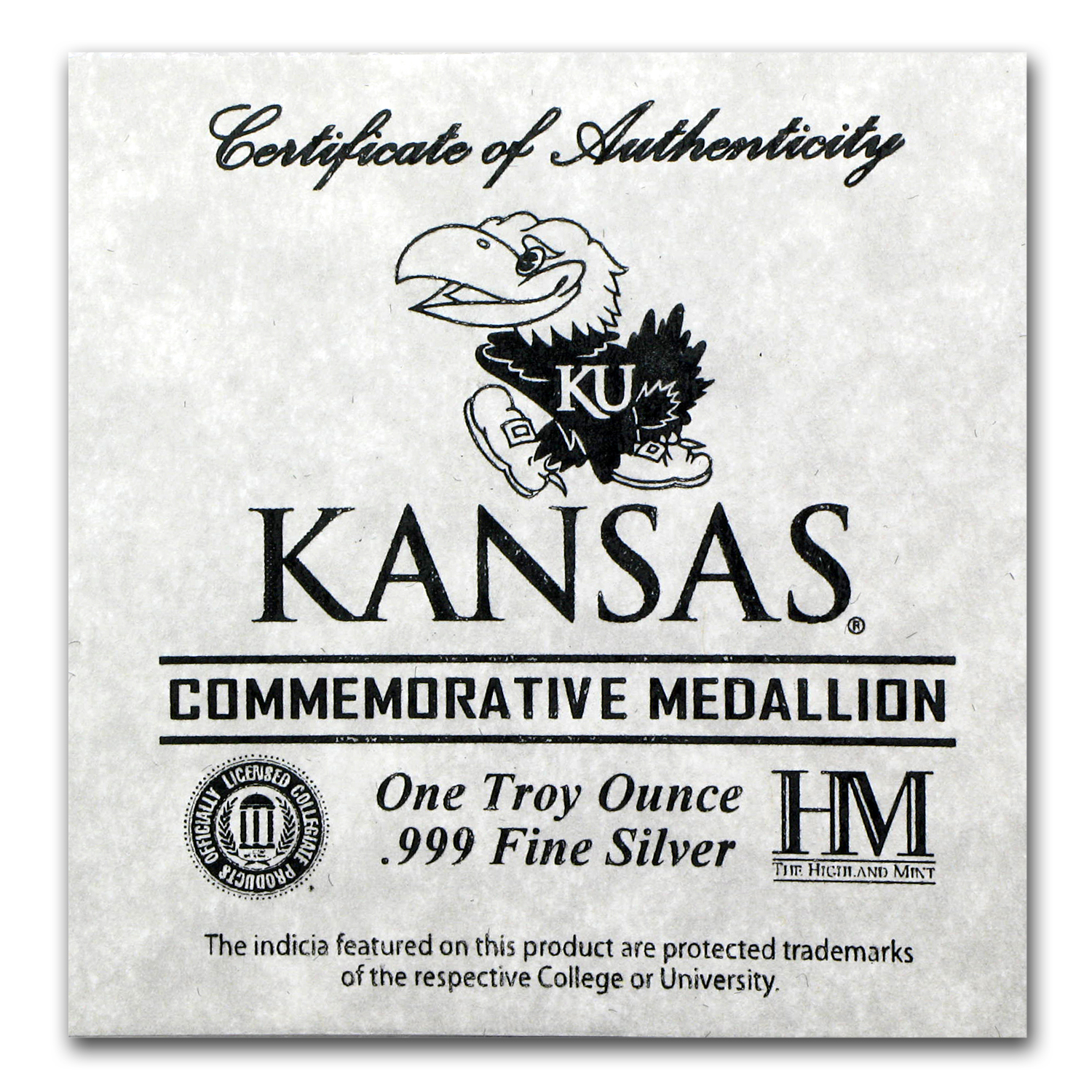 1 oz Silver Round - University of Kansas
