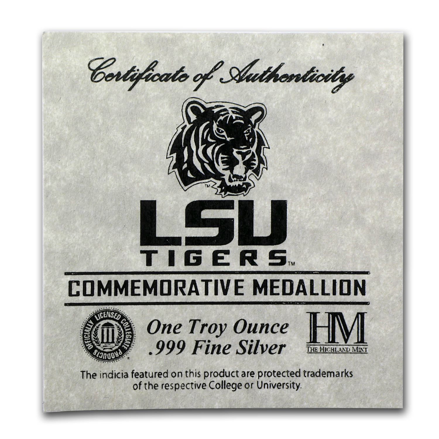 1 oz Silver Round - Louisiana State University