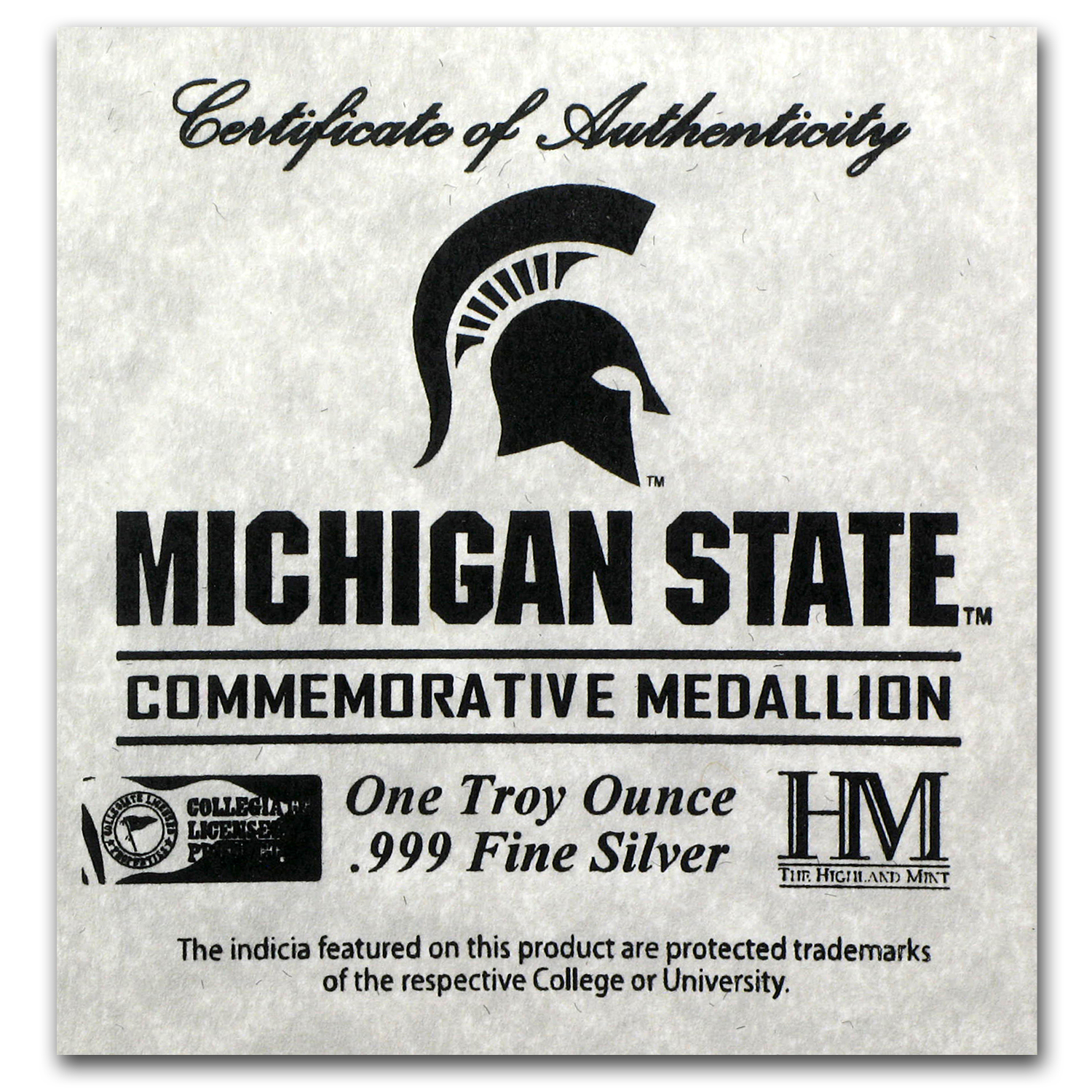 1 oz Michigan State University Silver Round
