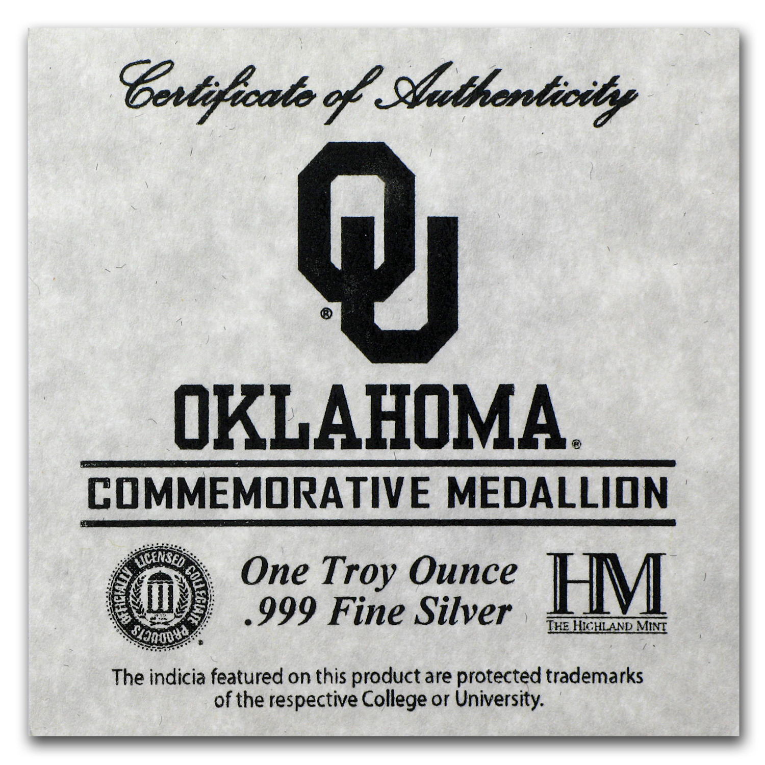 1 oz Silver Round - University of Oklahoma