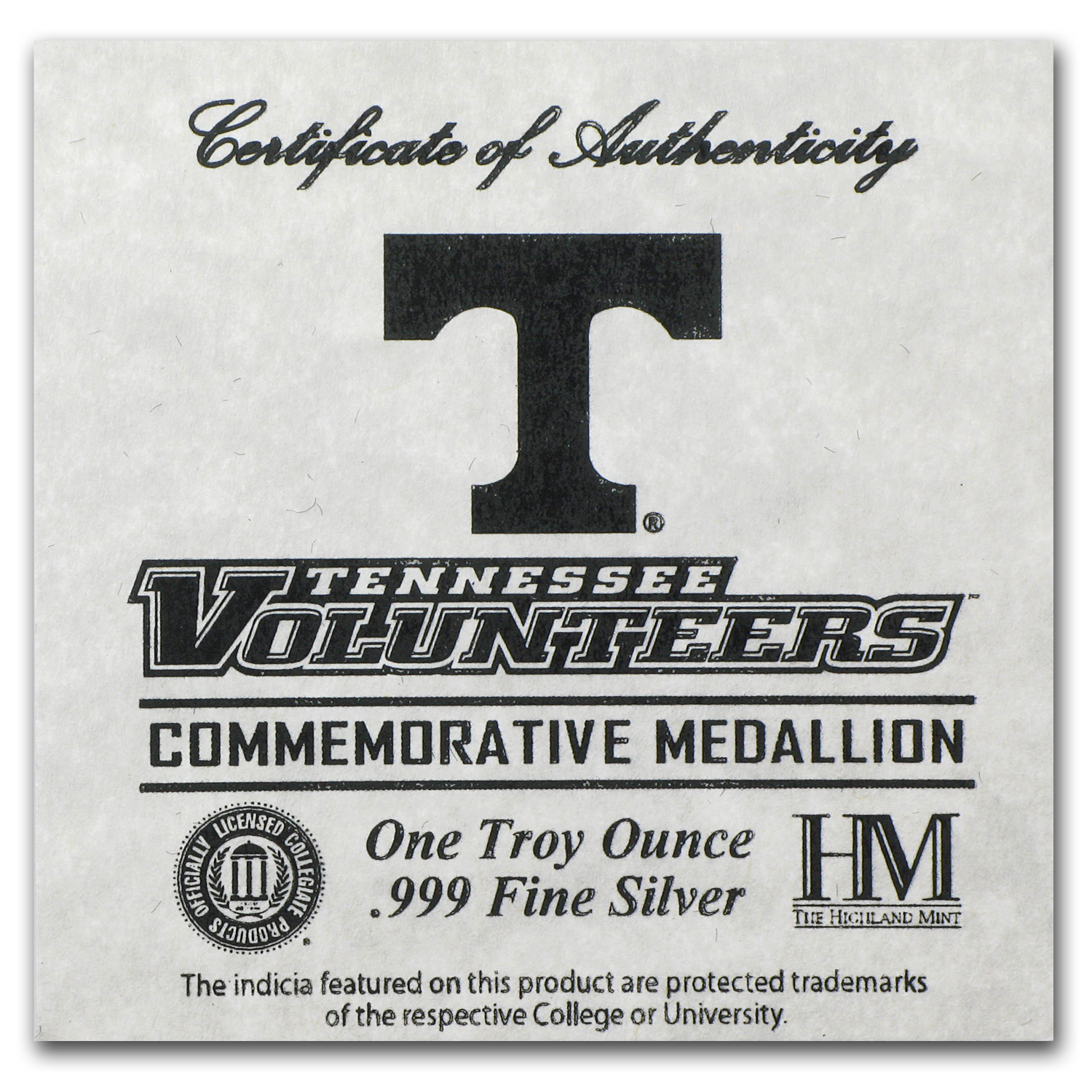 1 oz University of Tennessee Silver Round