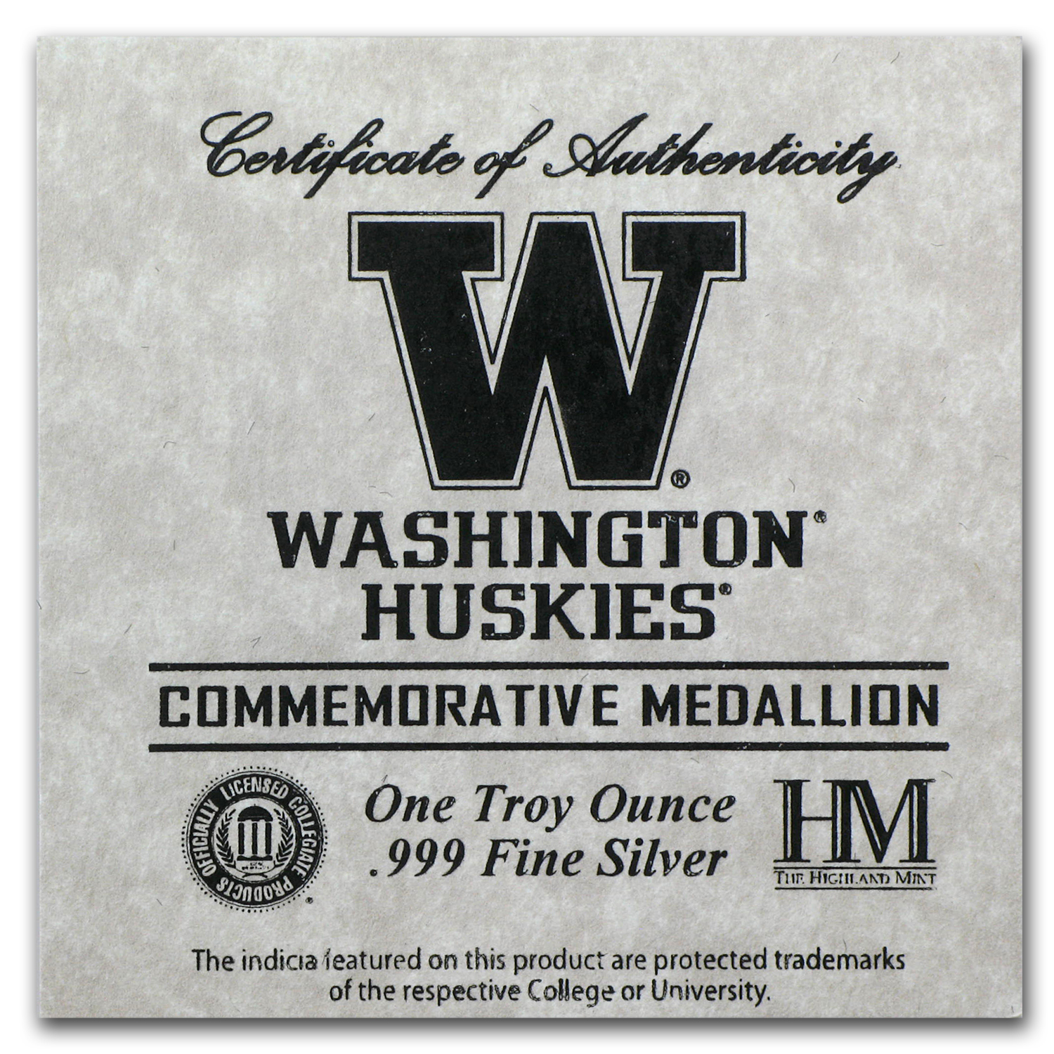 1 oz University of Washington Silver Round