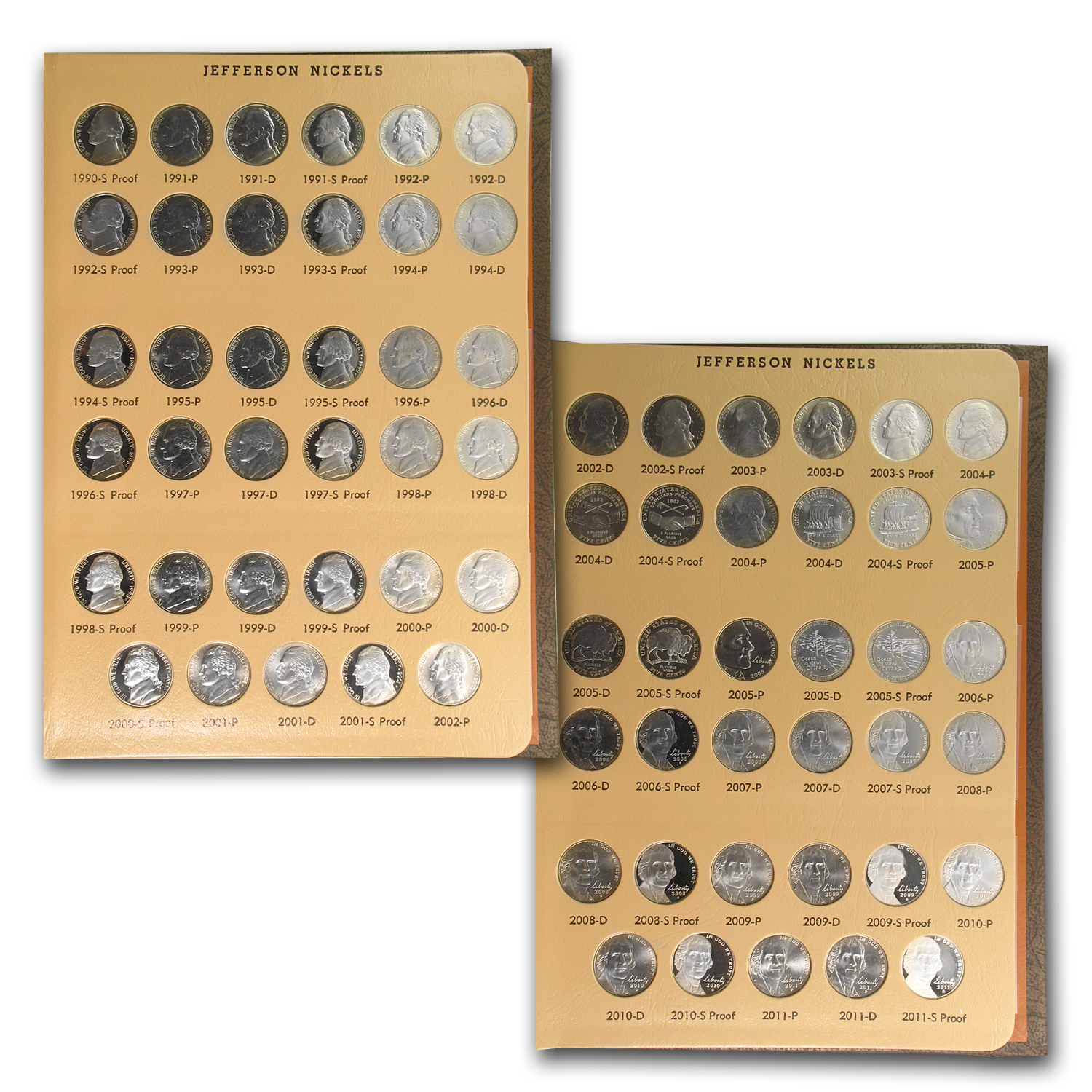 1938-2014 Jefferson Nickel Set in Album - BU & Proof 219 Coins!