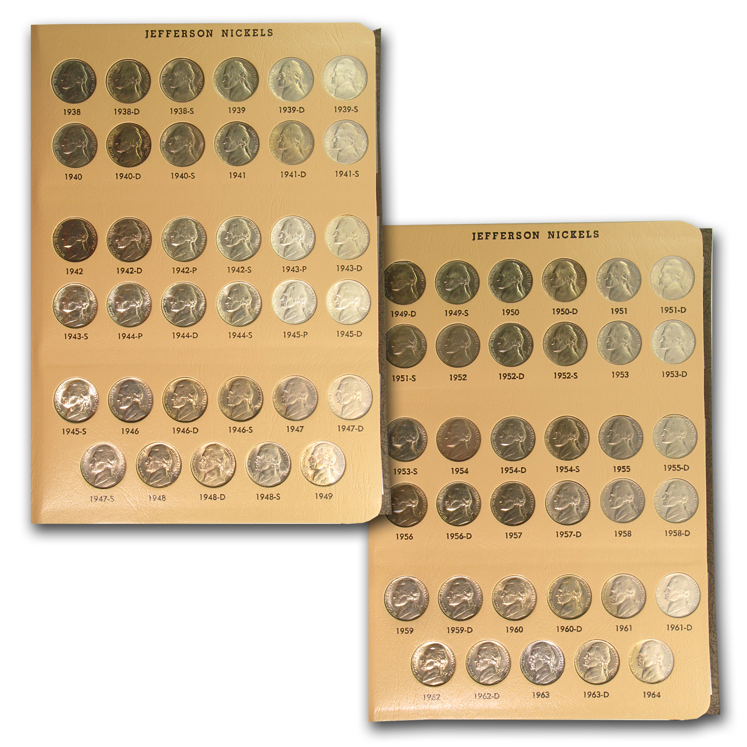 1938-2005 Jefferson Nickel Set in Album - BU & Proof 192 Coins!